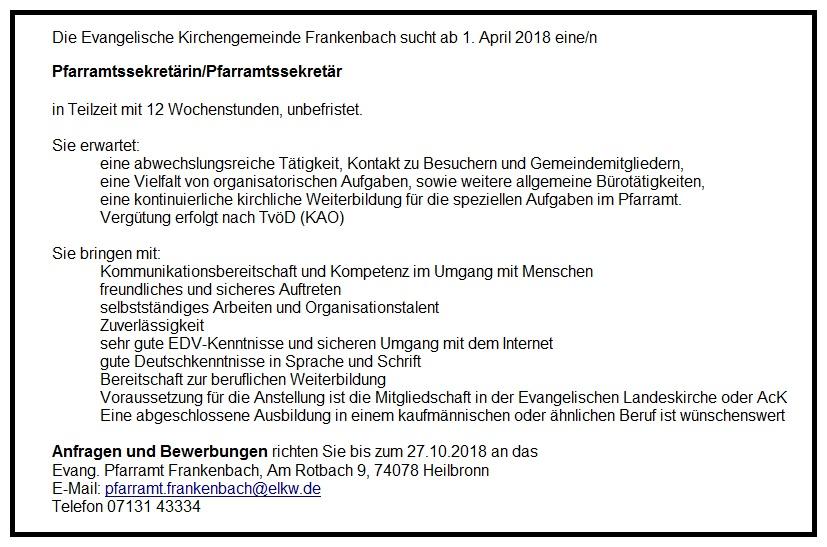 Stellenangebote Evangelische Kirchengemeinde Heilbronn Frankenbach